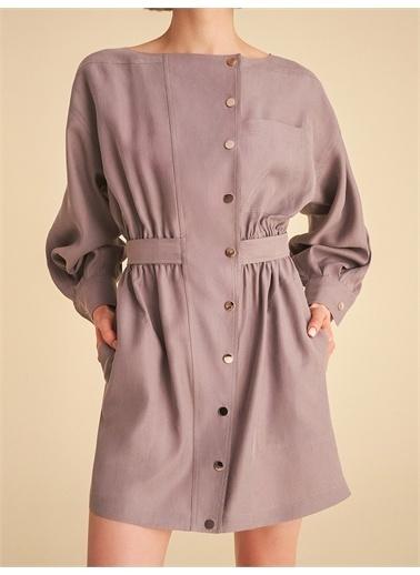 Nocturne Kuşaklı Mini Elbise Gri